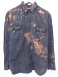 XL★古着 長袖 ヘビー フランネル シャツ 90年代 濃緑 グリーン チェック タイダイ 19sep12 中古 メンズ トップス