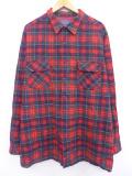 XL★古着 長袖 ウール シャツ 80年代 ペンドルトン PENDLETON ロング丈 大きいサイズ USA製 赤 レッド タータン チェック 19sep26 中古 メンズ トップス