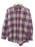 L★古着 長袖 ウール シャツ 90年代 ペンドルトン PENDLETON USA製 赤 レッド タータン チェック 19sep26 中古 メンズ トップス