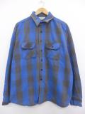 XL★古着 長袖 ヘビー フランネル シャツ 80年代 大きいサイズ ファイブブラザー USA製 青 ブルー バッファロー チェック 19sep26 中古 メンズ トップス