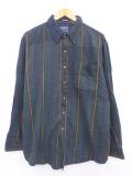 XL★古着 長袖 フランネル シャツ マンハッタン 大きいサイズ コットン 緑 グリーン ストライプ 19sep30 中古 メンズ トップス