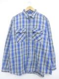 XL★古着 長袖 ヘビー フランネル シャツ 大きいサイズ コットン 青 ブルー チェック 19oct14 中古 メンズ トップス