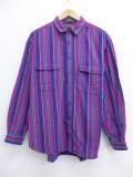 L★古着 長袖 ブランド フランネル シャツ 90年代 リーバイス Levis ビッグE 紫 パープル ストライプ 【spe】 19oct16 中古 メンズ トップス
