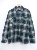 L★古着 長袖 ウール シャツ 80年代 緑 グリーン タータン チェック 19oct16 中古 メンズ トップス