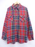 XL★古着 長袖 ヘビー フランネル シャツ 70年代 大きいサイズ 赤 レッド オーバー チェック 【spe】 19oct21 中古 メンズ トップス