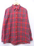 XL★古着 長袖 ブランド フランネル シャツ 90年代 エルエルビーン LLBEAN USA製 赤 レッド タータン チェック 19oct30 中古 メンズ トップス