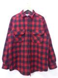 L★古着 長袖 ブランド ウール シャツ 80年代 エルエルビーン LLBEAN チェック ロング丈 USA製 赤 レッド バッファロー 19oct30 中古 メンズ トップス