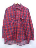 XL★古着 長袖 ブランド フランネル シャツ 80年代 シアーズ コットン 大きいサイズ 赤他 レッド タータン チェック 19nov07 中古 メンズ トップス
