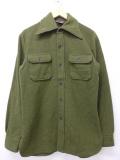 M★古着 長袖 ビンテージ ウール シャツ 70年代 70s 緑 グリーン 19nov08 中古 メンズ トップス