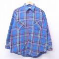 XL★古着 長袖 ヘビー フランネル シャツ 70年代 70s ビッグマック BIG MAC 青 ブルー チェック 19nov15 中古 メンズ トップス
