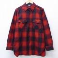 L★古着 長袖 ウール シャツ 90年代 90s ウールリッチ WOOLRICH USA製 赤 レッド オーバーチェック 19nov26 中古 メンズ トップス