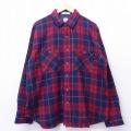 XL★古着 長袖 ウール シャツ 大きいサイズ 90年代 90s 赤他 レッド タータン チェック 19dec04 中古 メンズ トップス