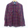 L★古着 長袖 ウール シャツ 90年代 90s 赤 レッド タータン チェック 19dec06 中古 メンズ トップス