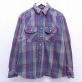 XL★古着 長袖 ヘビー フランネル シャツ 90年代 90s ファイブブラザー 大きいサイズ コットン USA製 紫 パープル チェック 19dec10 中古 メンズ トップス