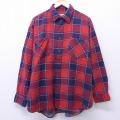 XL★古着 長袖 フランネル シャツ 90年代 90s マクレガー McGREGOR 大きいサイズ コットン 赤 レッド オーバー チェック 19dec17 中古 メンズ トップス