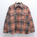 XL★古着 長袖 ウール シャツ 80年代 80s Kマート CPO オレンジ他 チェック 19dec24 中古 メンズ トップス