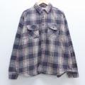 XL★古着 長袖 ヘビー フランネル シャツ 大きいサイズ 黒他 ブラック チェック 19dec24 中古 メンズ トップス