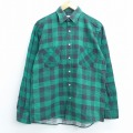 M★古着 長袖 フランネル シャツ 90年代 90s コットン USA製 緑 グリーン チェック 20feb24 中古 メンズ トップス