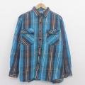 XL★古着 長袖 ヘビー フランネル シャツ ファイブブラザー 大きいサイズ コットン 青緑 チェック 20aug28 中古 メンズ トップス