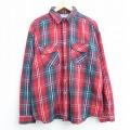 XL★古着 長袖 ヘビー フランネル シャツ 90年代 90s ファイブブラザー 大きいサイズ コットン USA製 赤他 レッド チェック 20aug31 中古 メンズ トップス