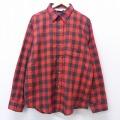 XL★古着 長袖 フランネル シャツ 80年代 80s ファイブブラザー コットン USA製 赤 レッド バッファロー チェック 20sep03 中古 メンズ トップス