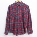 M★古着 長袖 フランネル シャツ 80年代 80s 赤 レッド チェック 20sep10 中古 メンズ トップス