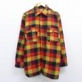 L★古着 長袖 ビンテージ ウール シャツ 60年代 60s JCペニー ロング丈 赤他 レッド チェック 20sep16 中古 メンズ トップス