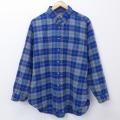 L★古着 長袖 ウール シャツ 80年代 80s ペンドルトン PENDLETON ボタンダウン USA製 青 ブルー チェック 20sep24 中古 メンズ トップス