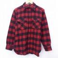 M★古着 長袖 ウール シャツ 80年代 80s ウールリッチ WOOLRICH 赤 レッド バッファロー チェック 20sep24 中古 メンズ トップス