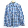 XL★古着 長袖 フランネル シャツ 90年代 90s ファイブブラザー 青 ブルー チェック 20nov17 中古 メンズ トップス