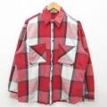 XL★古着 長袖 ヘビー フランネル シャツ 90年代 90s ビッグマック 大きいサイズ コットン USA製 赤 レッド チェック 21feb01 中古 メンズ トップス
