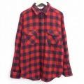 XL★古着 長袖 ウール シャツ 80年代 80s ウールリッチ WOOLRICH 赤 レッド バッファロー チェック 21feb08 中古 メンズ トップス