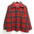 XL★古着 長袖 ウール シャツ 80年代 80s ペンドルトン PENDLETON 開襟 オープンカラー 赤 レッド タータン チェック 21feb10 中古 メンズ トップス