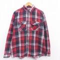 XL★古着 長袖 ヘビー フランネル シャツ 90年代 90s ファイブブラザー 大きいサイズ 赤 レッド チェック 21feb18 中古 メンズ トップス