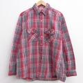 XL★古着 長袖 ヘビー フランネル シャツ 90年代 90s ファイブブラザー USA製 赤他 レッド チェック 21mar05 中古 メンズ トップス