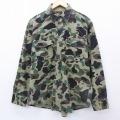 L★古着 長袖 ヘビー フランネル シャツ 90年代 90s USA製 緑 グリーン 迷彩 21mar23 中古 メンズ トップス