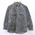 L★古着 長袖 フランネル シャツ 90年代 90s カベラス リアルツリー コットン USA製 緑 グリーン 迷彩 21mar23 中古 メンズ トップス