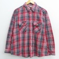 XL★古着 長袖 ヘビー フランネル シャツ 90年代 90s ファイブブラザー 赤 レッド チェック 21mar31 中古 メンズ トップス