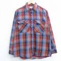 XL★古着 長袖 フランネル シャツ 80年代 80s コットン USA製 赤他 レッド チェック 21apr21 中古 メンズ トップス