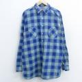 XL★古着 長袖 フランネル シャツ 90年代 90s ロング丈 コットン USA製 青 ブルー チェック 21apr21 中古 メンズ トップス