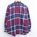 XL★古着 長袖 フランネル シャツ 90年代 90s ドッカーズ コットン ボタンダウン 赤 レッド チェック 21apr21 中古 メンズ トップス