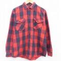 L★古着 長袖 ヘビー フランネル シャツ 90年代 90s CODET コットン USA製 赤他 レッド バッファロー チェック 21apr23 中古 メンズ トップス