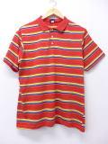 L★古着 ポロ シャツ 80年代 USA製 赤 レッド ボーダー 19jul26 中古 メンズ 半袖 トップス