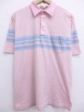 L★古着 ポロ シャツ 90年代 ロンドンフォグ 薄ピンク ストライプ 19aug23 中古 メンズ 半袖 トップス