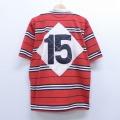 L★古着 半袖 ラガー シャツ バーバリアン 15 スタンドカラー 赤他 レッド ボーダー 20apr16 中古 メンズ トップス