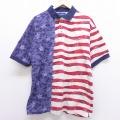 XL★古着 半袖 ポロ シャツ ラングラー Wrangler 星条旗 コットン 白 ホワイト 20may22 中古 メンズ トップス
