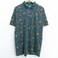 XL★古着 半袖 ポロシャツ 90年代 90s オービス ORVIS 魚 釣り 総柄 コットン USA製 緑 グリーン 【spe】 21mar10 中古 メンズ トップス