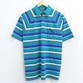 M★古着 半袖 ポロ シャツ 80年代 80s ピューリタン ラグラン 青緑他 ボーダー 21apr05 中古 メンズ トップス