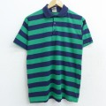 M★古着 キャンパス 半袖 ポロ シャツ メンズ 90年代 90s USA製 緑他 グリーン ボーダー 21jun16 中古 トップス