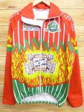 L★古着 長袖 フルジップ サイクリング シャツ オオカミ 赤 レッド ストライプ 18jan26 中古 メンズ トップス